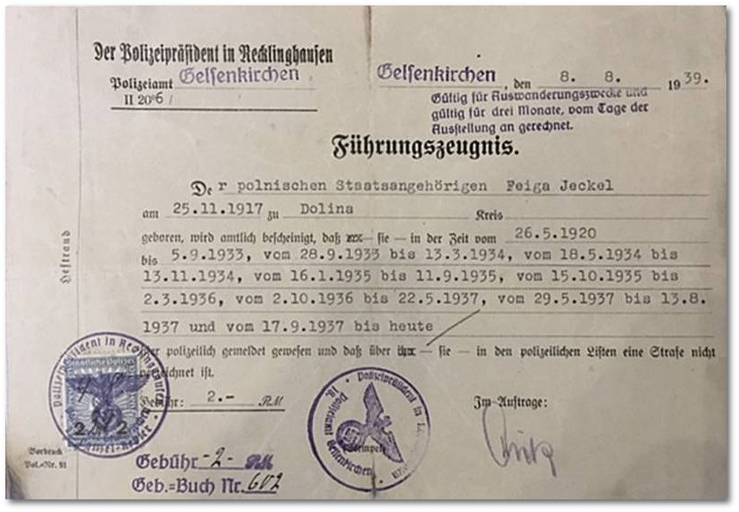 Police clearance certificate valid for the purpose of emigration, issued to Feiga Jeckel on 8 August 1939 in Gelsenkirchen