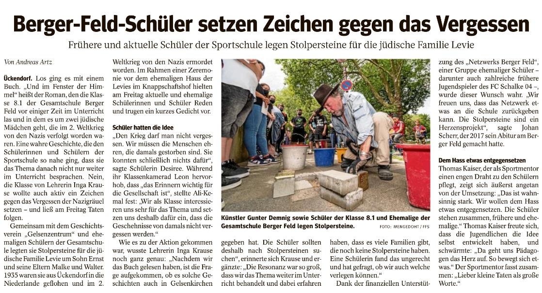 Zeitungsartikel 'Berger-Feld-Schüler setzen Zeichen gegen das Vergessen'  lesen: KLICK!